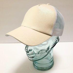 White Glitter Ponytail Baseball Cap Trucker Hat